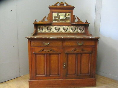 Antique Victorian Walnut and Marble Cabinet Wash stand