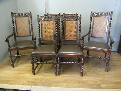 Set Of 8 Oak Carved Jacobean Style Upholstered Brown Leather Dining Chairs
