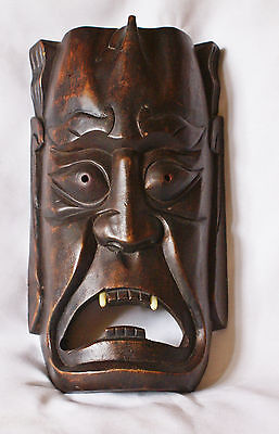 Vintage Japanese Carved Wood Hannya Noh Oni Demon Mask 12 Inches Tall