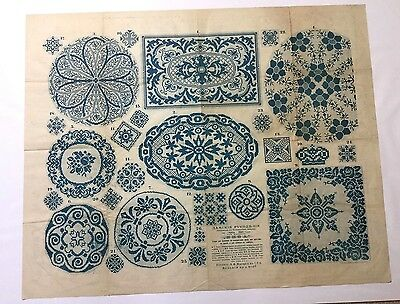 """Antique large Russian embroidery & dress paper pattern/chart 31""""x25"""" V rare [p2]"""