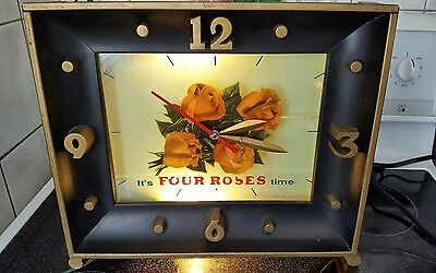 vintage advertising 1950's Four Roses Whiskey Lighted Bar sign Clock Works