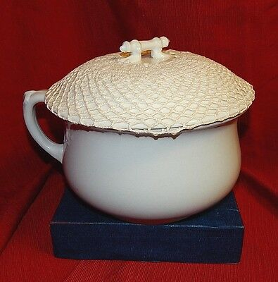 "Vintage Chamber Pot With ""silencer"" Lid, Ironstone China By Powell And Bishop"
