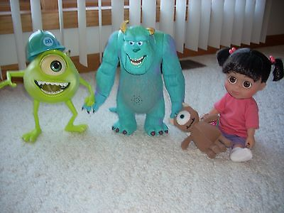 Disney Store Lot of 3 Monsters Inc. Sulley, Mike Wazowski & Boo Large figures