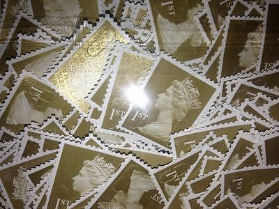 100 1st Class Unfranked Stamps Off Paper All Gold