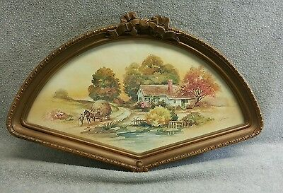 1984 Homco Home Interiors Fan Shaped Gold Frame Country Cottage Scene #3250