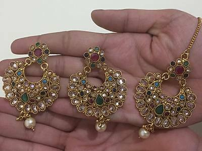 Indian New Ladies Bollywood Gold Finish Earrings And Tikka Set Wedding Wear