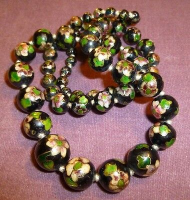 Antique Vintage Chinese Cloisonne Enamel Bead Hand Knoted Green Flowers Necklace