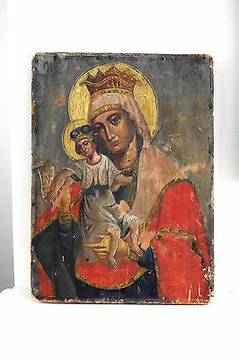 Antique,religious,icon,madonna and child,inscribed,hand painted,antique icon,
