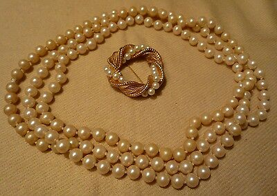 Vintage Set Signed NAPIER Round Brooch Pin Gold Tone & Faux Pearl Necklace