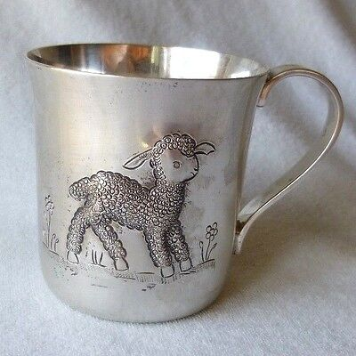 TIFFANY Sterling Hand Chased LAMB Baby Cup