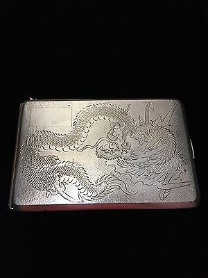 Vintage Chinese Export Silver Dragon Cigarettes Case