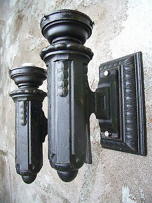 Antique Pair Large Industial Art Deco Railroad Iron Bullet Light Sconce