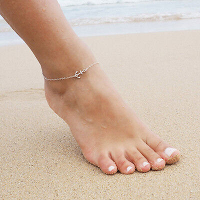 Anklet Ankle Bracelet Dainty Tiny Delicate Anchor Beach Silver Gold Nautical