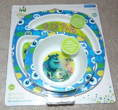~NEW Boys DISNEY'S MONSTER UNIVERSITY Break Resistant Plate & Bowl! BPA FREE FS~
