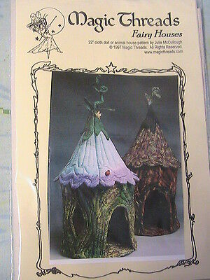 "FAIRY HOUSES~Julie McCullough 22"" doll~whimsical~USA cloth art house pattern"