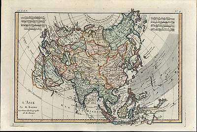 Asia L'Asie India Russia China Hindustan Persia Arabia Japan 1780 Bonne old map
