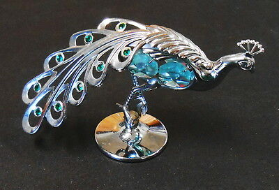 Peacock Figurine With Light Blue Crystal On Tail Mancot Usa Austrian