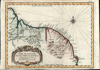 French Guiana Suriname Guyana South America 1757 Bellin old antique color map