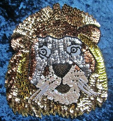 "7"" Friendly Lion's Head Beaded Sequin Appliqué"