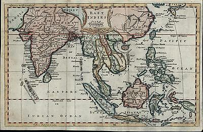 East Indies Gange Mogul Empire Siam India Tibet China 1760 old antique color map