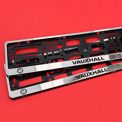 2x CHROME VAUXHALL NUMBER PLATE SURROUNDS HOLDER FRAME PAIR FOR ANY INSIGNIA CAR