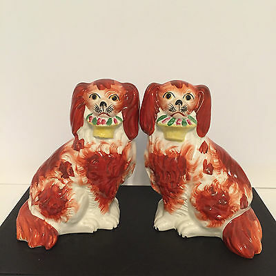 Antique Staffordshire Pair Russet/White Spaniel Dogs with Flower Baskets c.1855