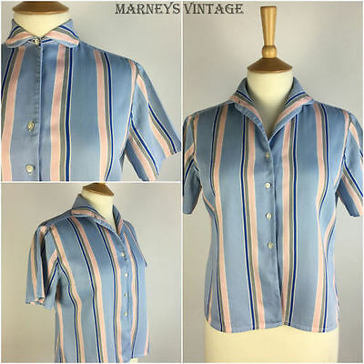 Vintage 1950s Shirt 50s Blue Cotton Striped Blouse Rockabilly Pinup 12 14 Medium