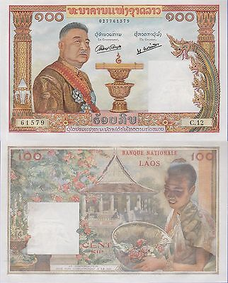 Laos 100 Kip Banknote 1957 Uncirculated Condition Cat#6-A-1579