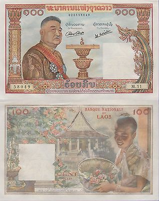 Laos 100 Kip Banknote 1957 Uncirculated Condition Cat#6-A-8049