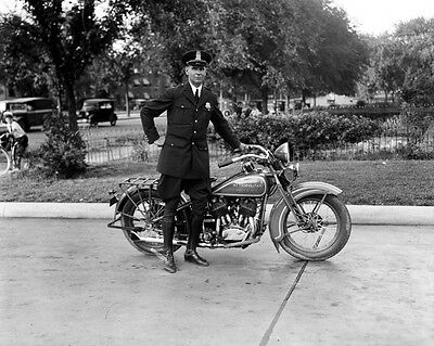 Vintage DC Metro Police Officer w/ Motorcycle 8x10 Print Photograph Reproduction