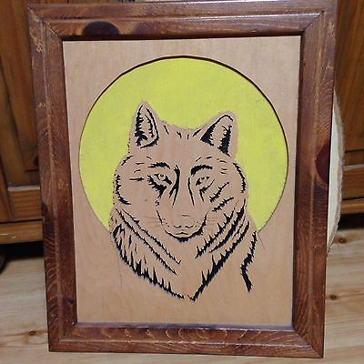 "Wolf Head Hand Carved & Handcarved Frame Excellent Cond18"" x 15"" & 3/4"" Thick"