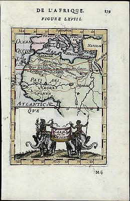 Africa continent interior 1683 old antique map elephant cartouche Mallet