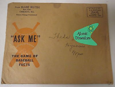 """Vintage 1934 Quaker Oats BABE RUTH """"Ask Me"""" Card Game w/ Instructions & Mailer"""