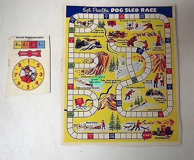 Vintage 1950s QUAKER PUFFED RICE Sgt. Preston DOG SLED RACE Box back #1