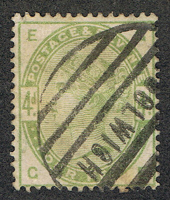Great Britain Sc103 Used 4p green QV 1884