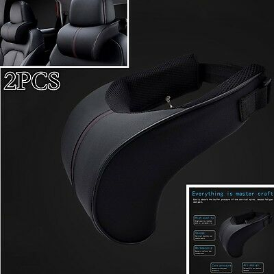 2pcs Ergonomic Headrest PU Black Leather Auto Car Neck Rest Cushion Pillows NEW
