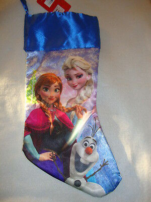 "Disney Frozen ""anna , Elsa & Olaf""  Satin  Christmas Stocking Nwts"