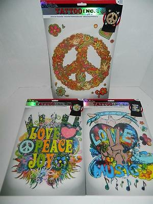 """3 Large T-Shirt Iron On Transfers Love Peace Sign Joy Music Colorful Hippie 10"""""""