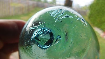Vintage Japanese Beachcombed Genuine Glass Float W/ Mark On Seal Button