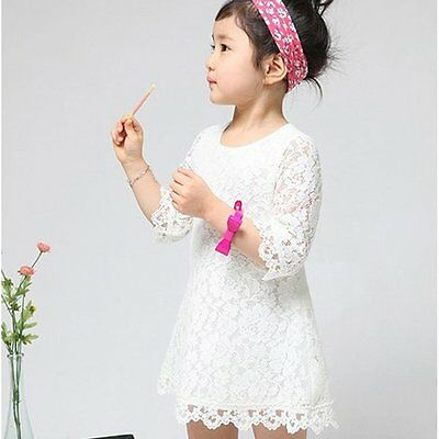 Pageant Floral Flower Lace Party Skirt Kids Girl Baby Dress Clothing 2-7Years AU