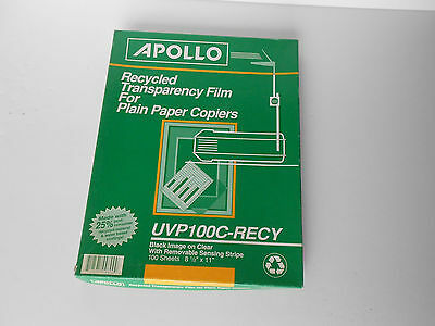 Apollo UVP100C-RECY 8.5x11 TRANSPARENCY FILM  for Plain Paper Copiers  88-SHEETS