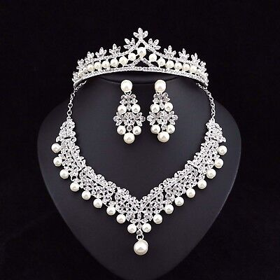 Clovers Pearl Austrian Rhinestone Tiara Necklace Earrings Set Bridal Prom N25set