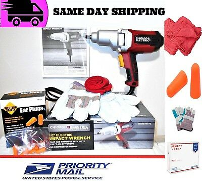 """Chicago Electric Impact Wrench 1/2"""" Dr. W/ Work Gloves, 2 Ear Plugs & 3 Towels"""