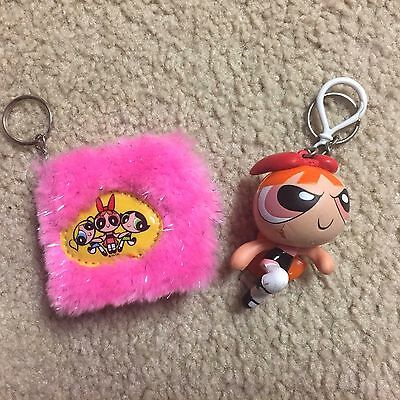 Powerpuff Girls Fuzzy Pink Mini Notebook Keychain and Spongy Blossom Keychain