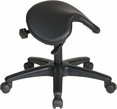 Stool with Wheels Backless Drafting Saddle Seat Office Chair Black Adjustable