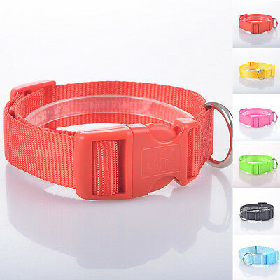 Dog Neck Collars Pets Safety Cat Puppy Collar Nylon Adjustable Buckle Red Blue