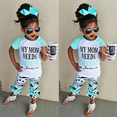 2pcs Baby Girls Kids Casual T-shirt Tops+Pants Outfits Summer Clothes Set 1-6Y