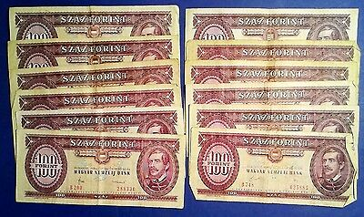 HUNGARY: 12 x 100 Forint Banknotes - Fine Condition
