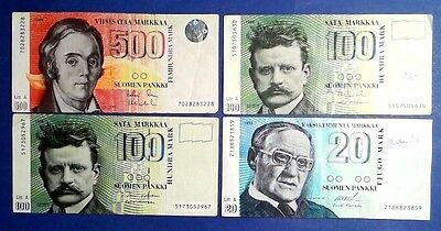 FINLAND: Set of 4 Markkaa Banknotes  - Very Fine Condition