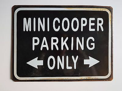 Targa metallo vintage MINI COOPER PARKING ONLY garage muro arredo decorazione